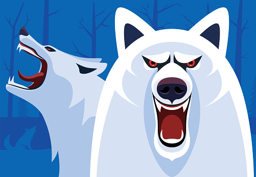 arctic wolves snarling