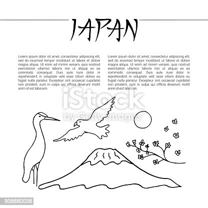 Ard Template With Symbols Of Japan Stock Vector Art More Images