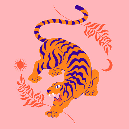 Сard with chinese tiger in boho asian style. Beautiful animal print design. For fabric, wall art, interior design, social media post, packaging. Floral branch, crescent moon, star, magic.