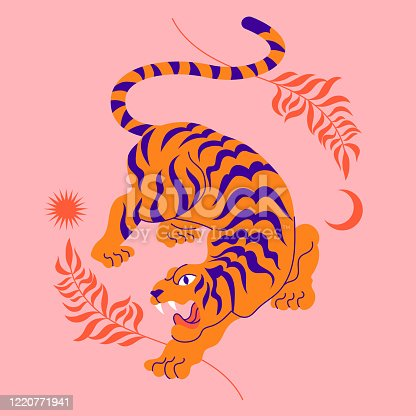 istock Сard with chinese tiger in boho asian style. Beautiful animal print design. For fabric, wall art, interior design, social media post, packaging. Floral branch, crescent moon, star, magic. 1220771941