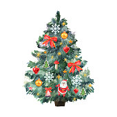 Ð¡ard with Christmas tree and colorful toys. Watercolor green Christmas tree, Santa, snowflake, bell, mushroom, stars, bow on white background. Winter holiday illustration great design for any purposes. Vector