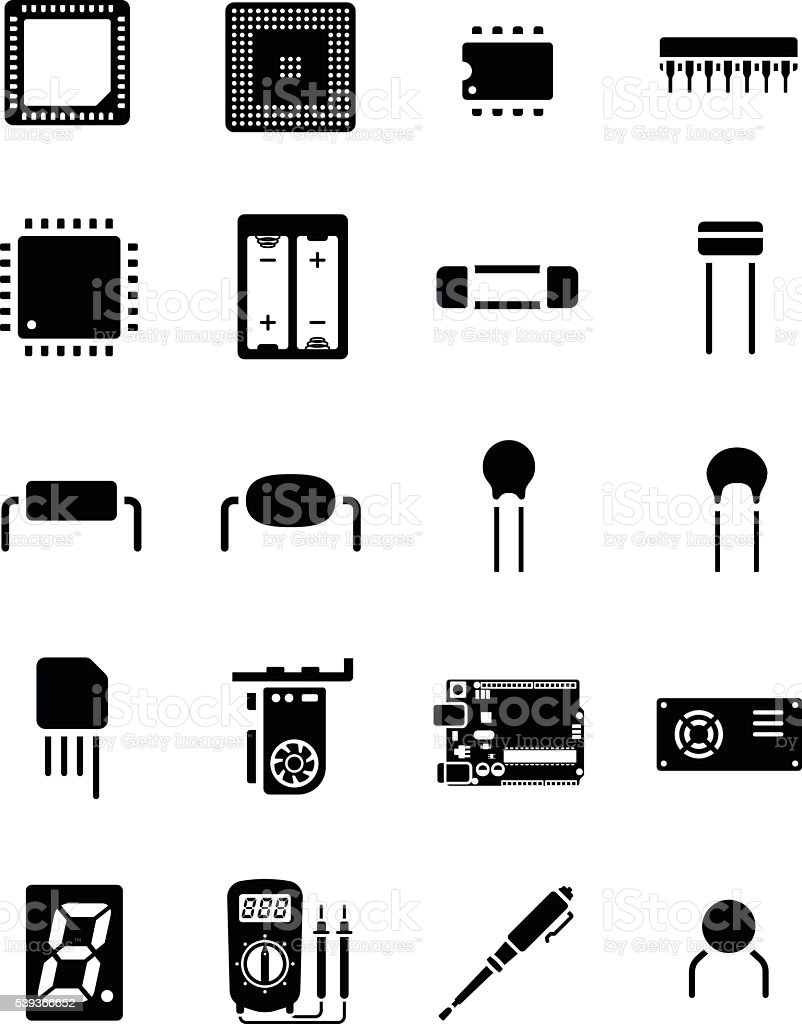 arduino chip electronics component icon set stock vector