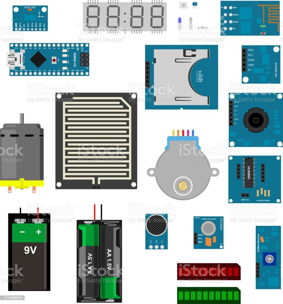 Arduino electronic elements vector art illustration