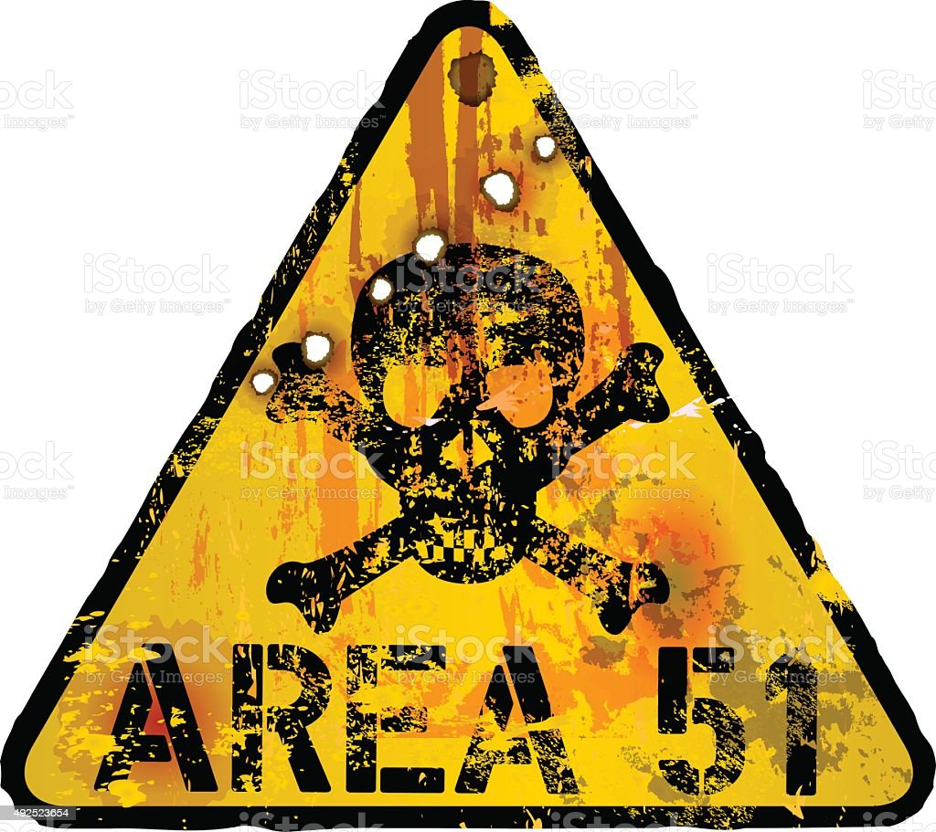 area 51 grungy warning sign