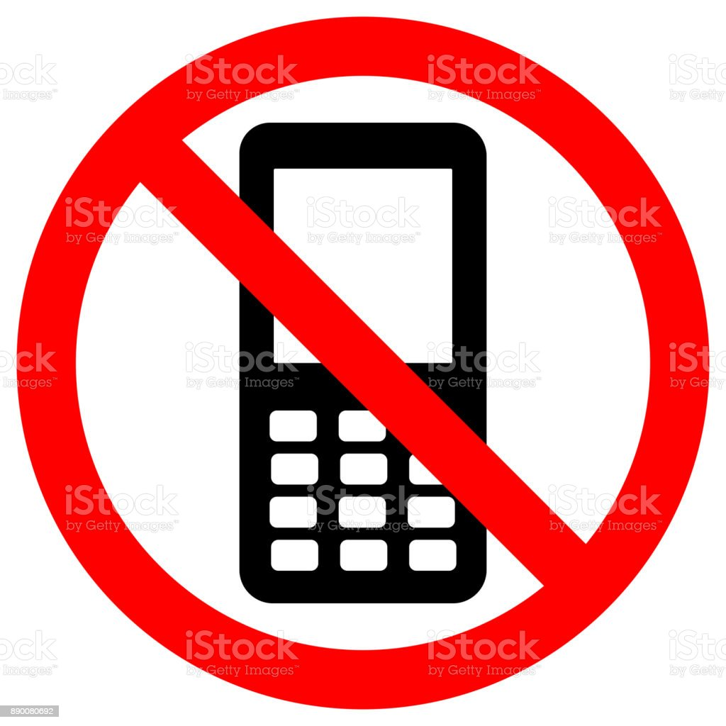 No Cell Phones Area Keep Quiet Symbol Button Mobile Phone Icon