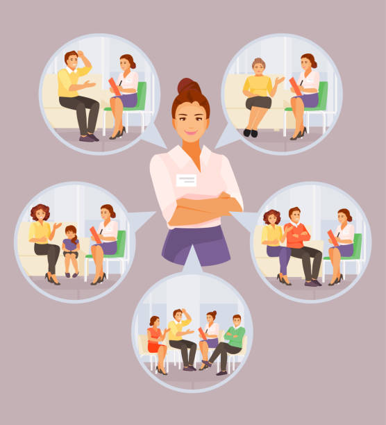 ilustraciones, imágenes clip art, dibujos animados e iconos de stock de áreas de vector de psicología - profesional de salud mental