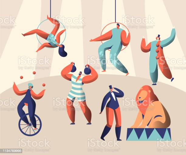 Arena circus show with clown acrobat and animal woman juggler on vector id1134769995?b=1&k=6&m=1134769995&s=612x612&h=txzjqzrkxsdjrev6wbjd6tyhv1hcy55qymqnpvm9hak=