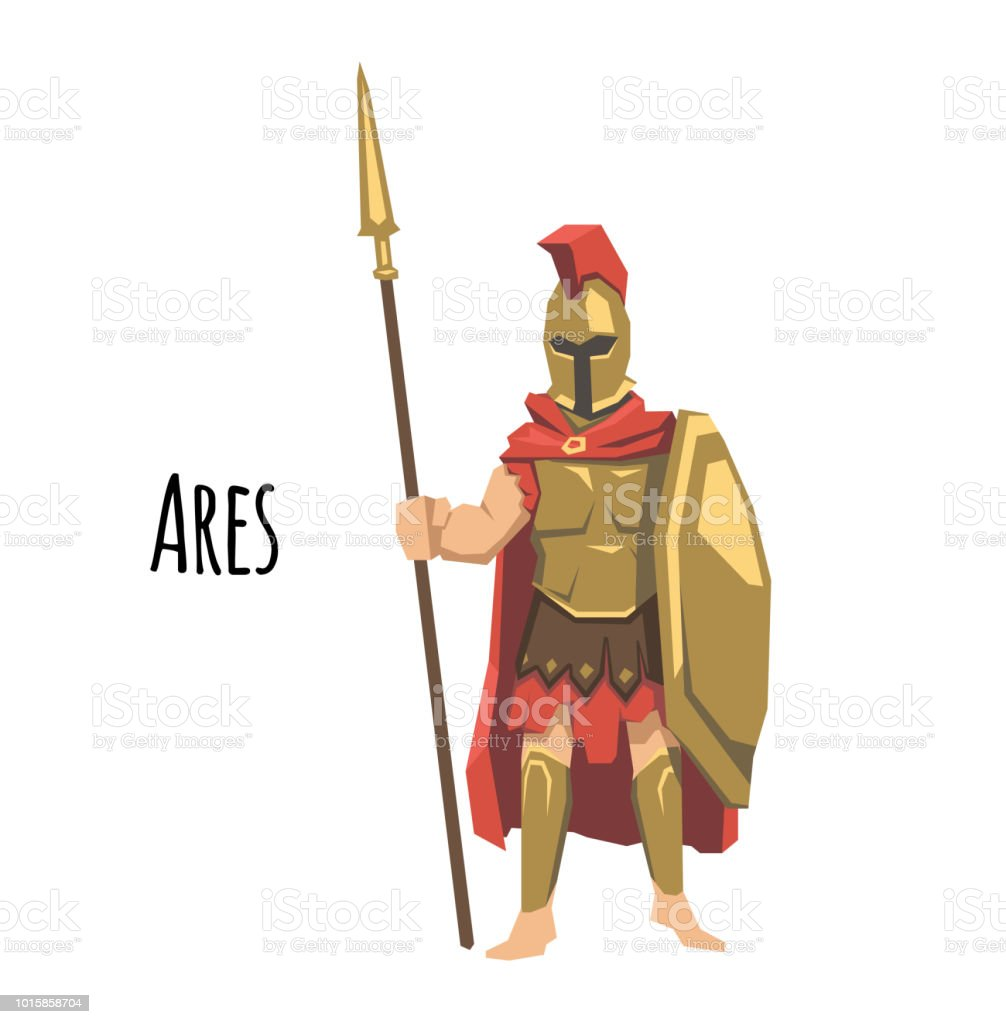Ares, ancient Greek god od of war. Mythology. Flat vector illustration. Isolated on white background. vector art illustration