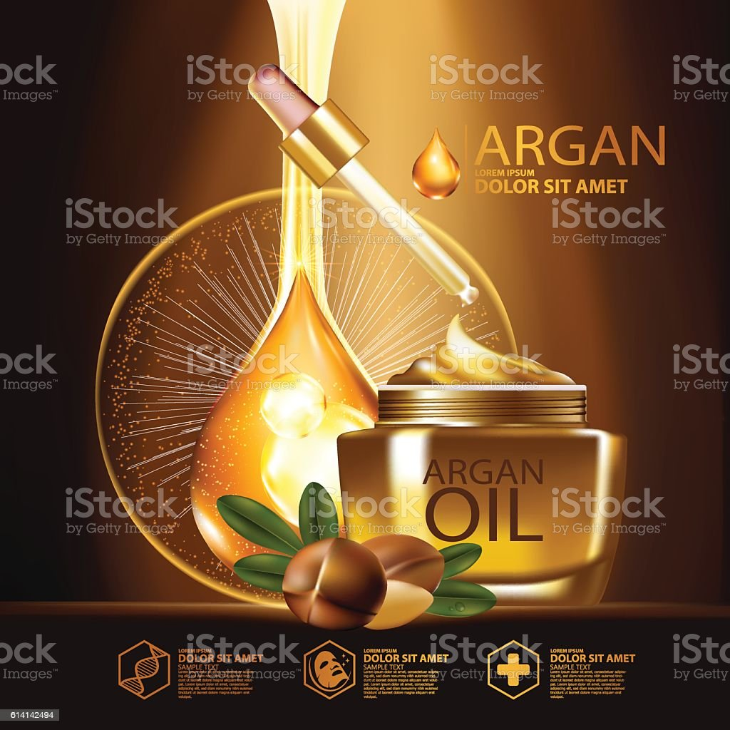 Argan Oil Serum Skin Care Cosmetic Stock Illustration - Download