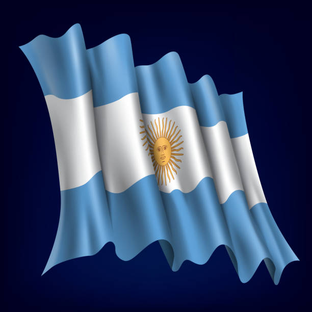 アルゼンチン、アルゼンチンの国旗 ベクターアートイラスト