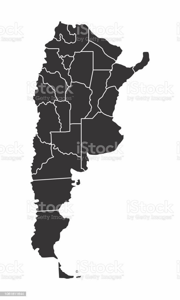 Ilustracion De Mapa De Argentina Blanco Y Negro Y Mas Vectores Libres De Derechos De America Del Sur Istock