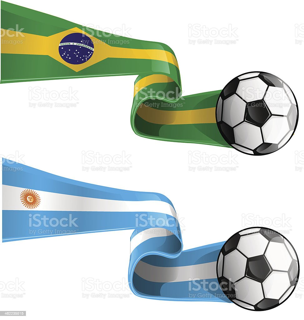 argentina & brazil flag vector art illustration