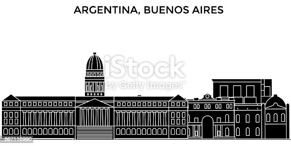 Argentina, Buenos Aires architecture vector city skyline, black cityscape with landmarks, isolated sights on background