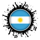 Button with Argentinian flag and soccer fans silhouette 2018 world championship