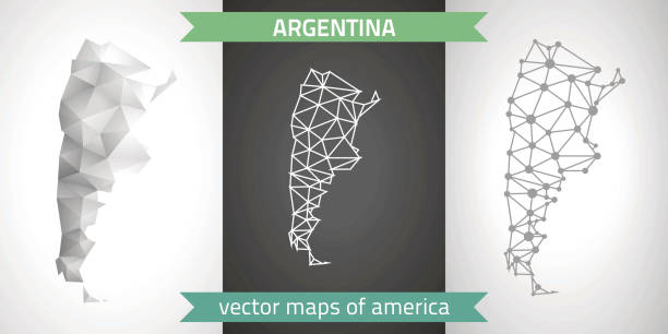 Argentina collection of vector design modern maps, grey and black and silver dot outline mosaic 3d map vector art illustration