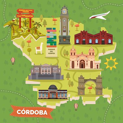 Argentina Cordoba map with sightseeing landmarks