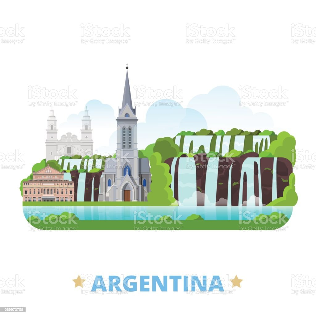 Argentina country flat cartoon style historic sight web site vector illustration. World vacation travel America collection. Jesuit Block and Estancias Teatro Colon Cathedral of San Carlos de Bariloche - ilustração de arte em vetor