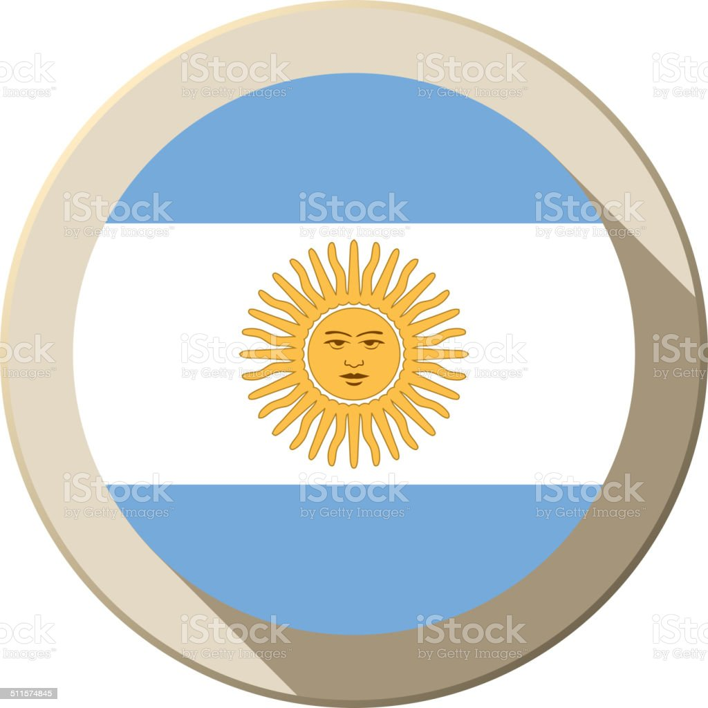 Argentina Flag Button Icon Modern vector art illustration