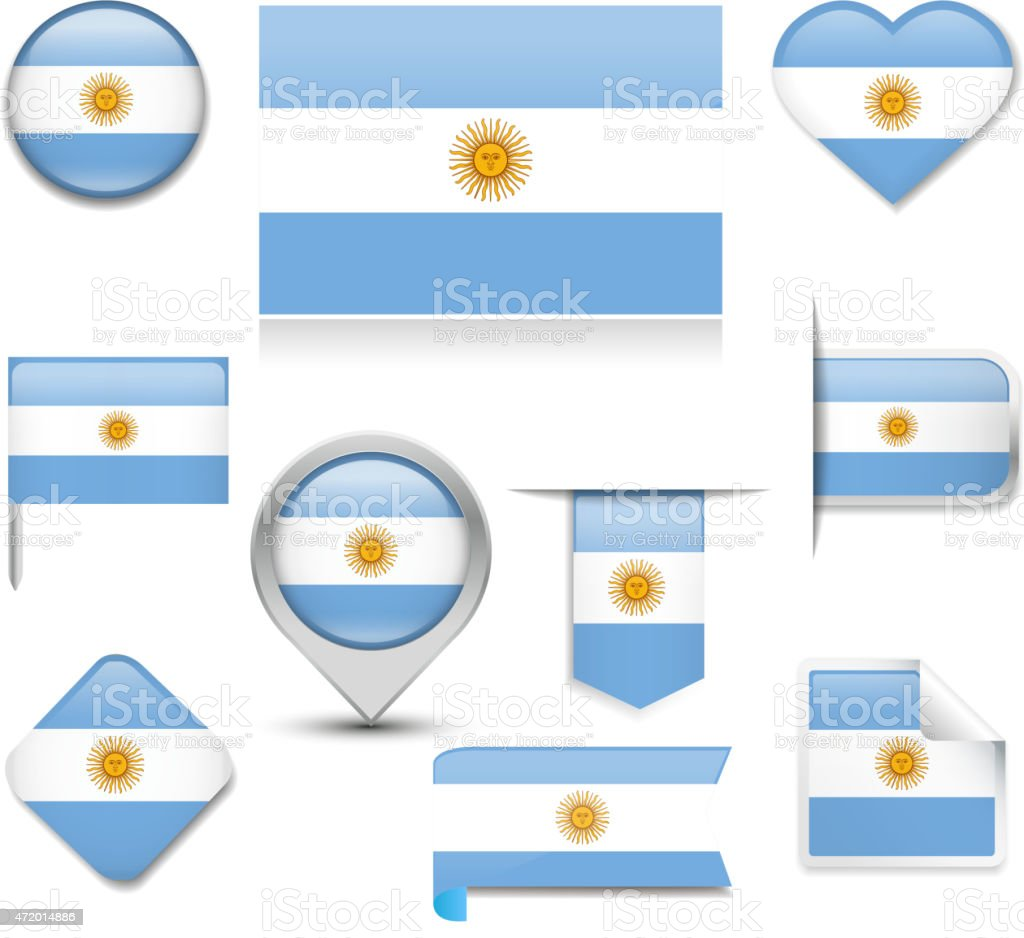 Argentina Flag Collection vector art illustration