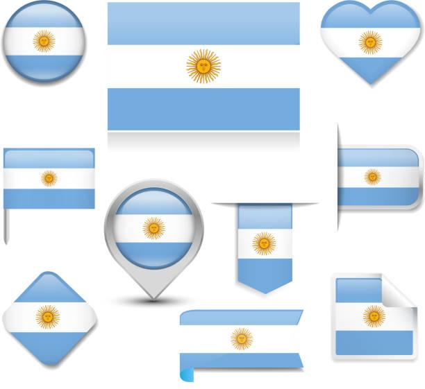 アルゼンチンの国旗コレクション ベクターアートイラスト