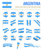 Argentina - Flag Icon Flat Vector Set
