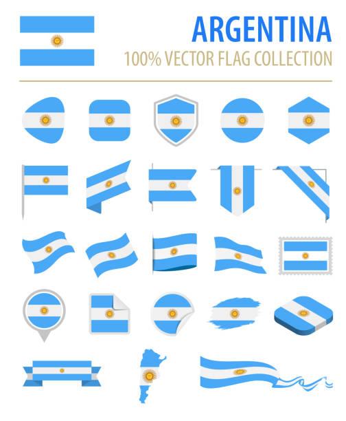 illustrations, cliparts, dessins animés et icônes de argentine - flag icon set vector plate - argentine