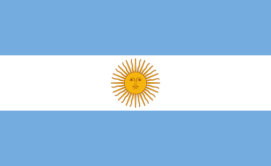 Argentina flag. Icon of national of argentina with sol de may. Argentinian blue white flag with emblem of god sun of inca. Official accurate argentine symbol. Banner of country and nation. Vector