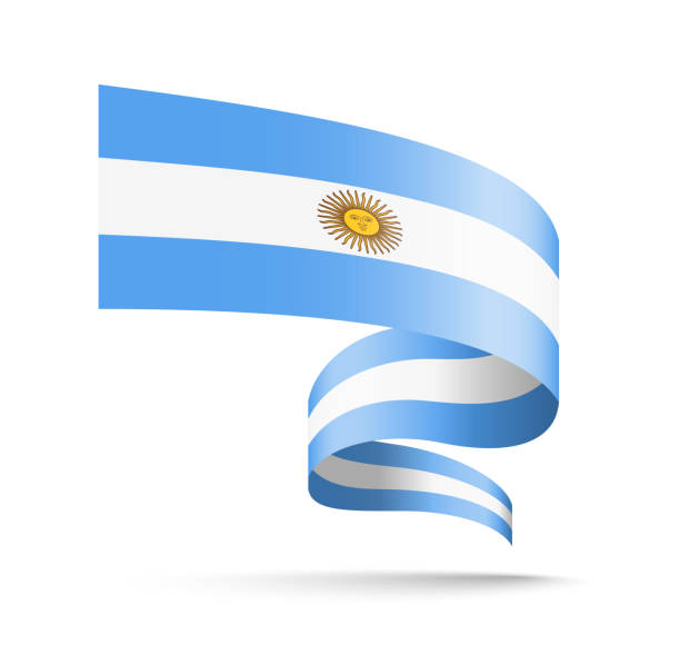 argentina flag in the form of wave ribbon. - argentina flag stock illustrations, clip art, cartoons, & icons