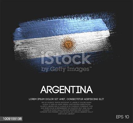 istock Argentina Flag Made of Glitter Sparkle Brush Paint Vector 1009155138