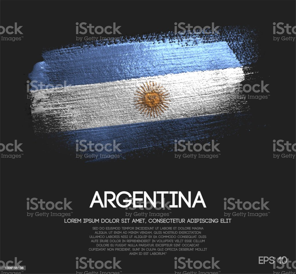 Argentina Flag Made of Glitter Sparkle Brush Paint Vector vector art illustration