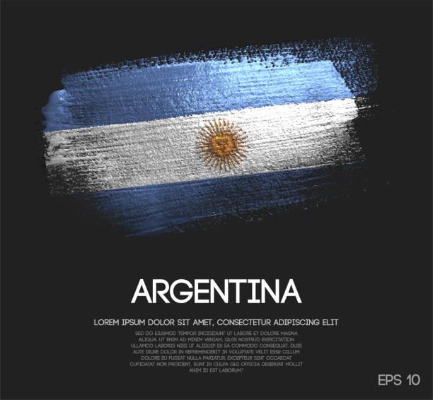 argentina flag made of glitter sparkle brush paint vector - argentina flag stock illustrations, clip art, cartoons, & icons