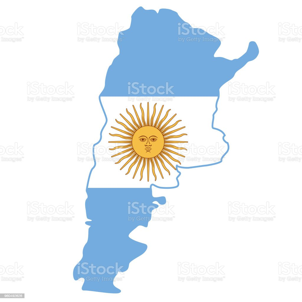 Argentina flag map vector art illustration