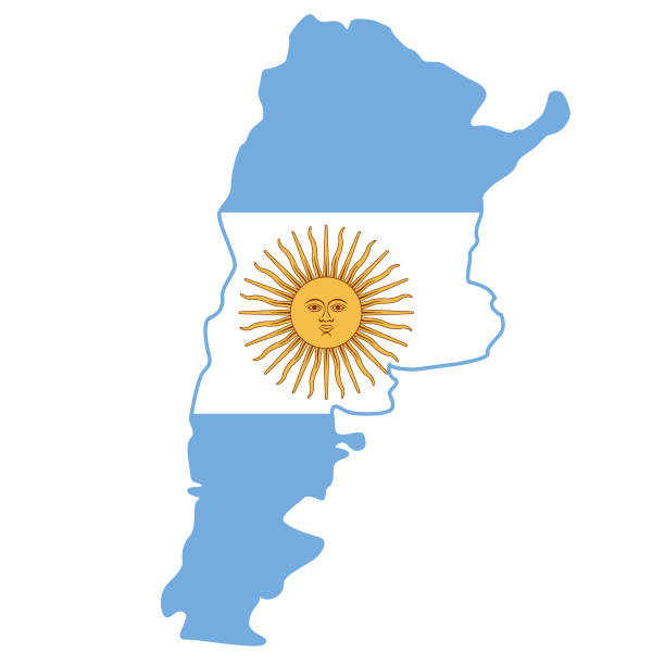 argentina flag map - argentina flag stock illustrations, clip art, cartoons, & icons