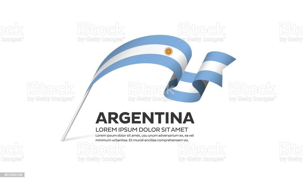 Argentina flag on a white background vector art illustration