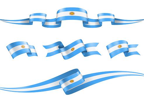 Argentina Flag Ribbon Set - Vector Stock Illustration