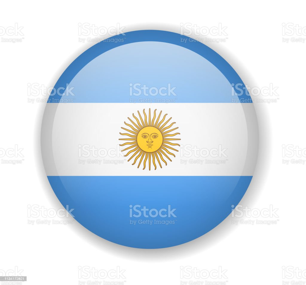 Argentina flag round bright icon on a white background vector art illustration