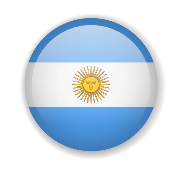 argentina flag round bright icon on a white background - argentina flag stock illustrations, clip art, cartoons, & icons
