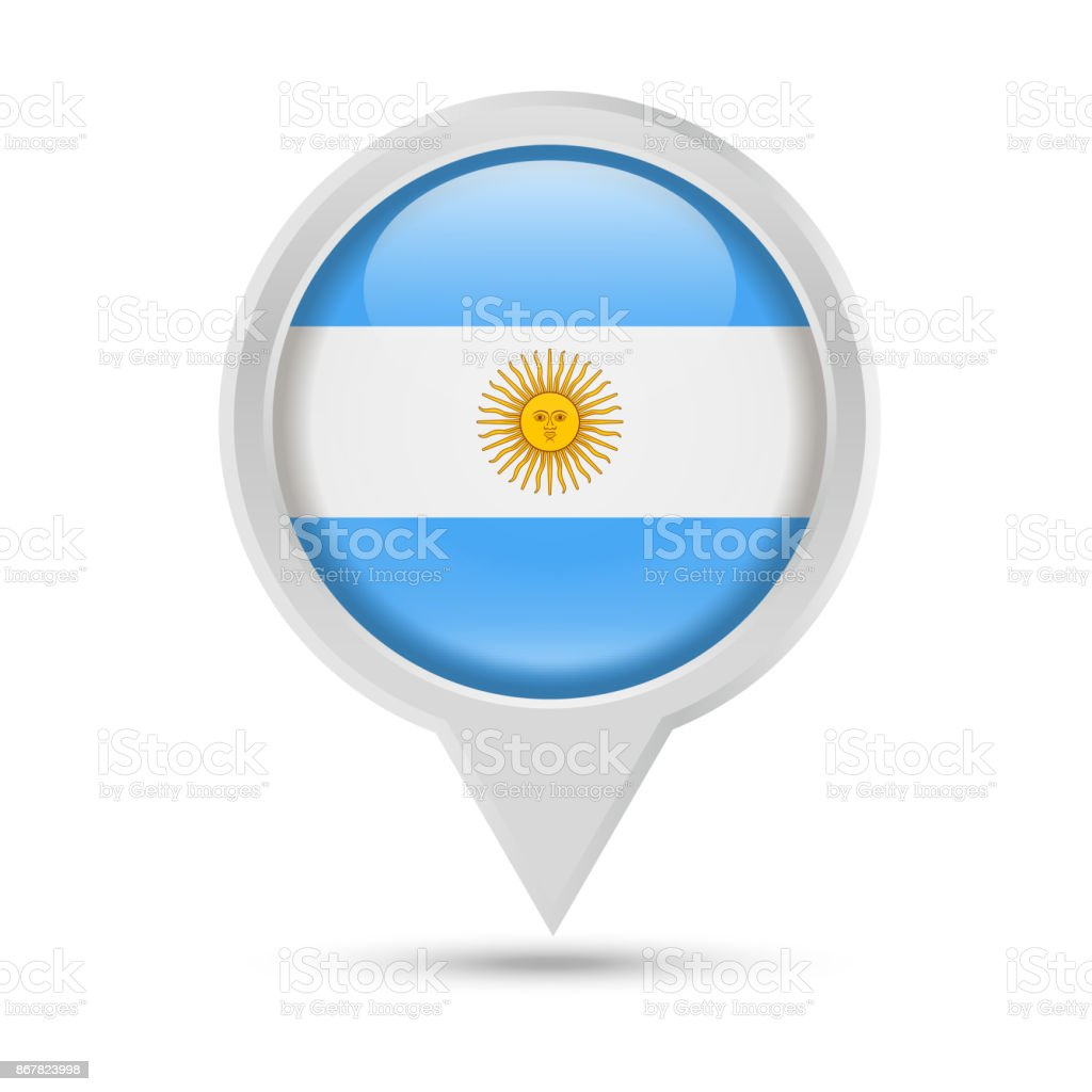 Argentina Flag Round Pin Vector Icon vector art illustration