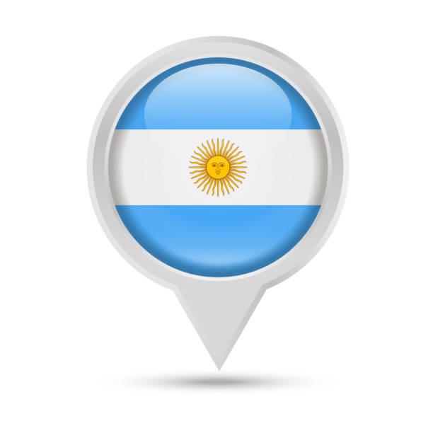 Drapeau de l'Argentine rond Pin Vector Icon - Illustration vectorielle