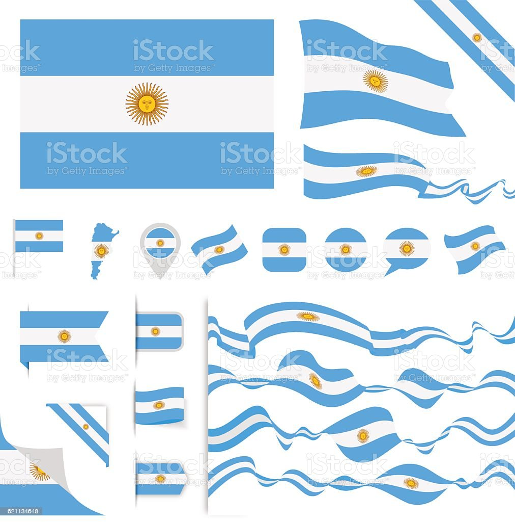 Argentina Flag Set vector art illustration