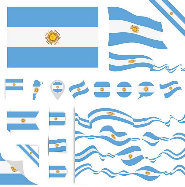 argentina flag set - argentina flag stock illustrations, clip art, cartoons, & icons