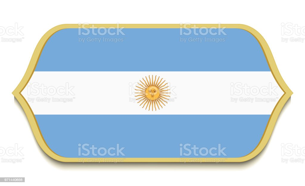 Argentina Flat National Flag Icon Button Argentinian Symbol Isolated