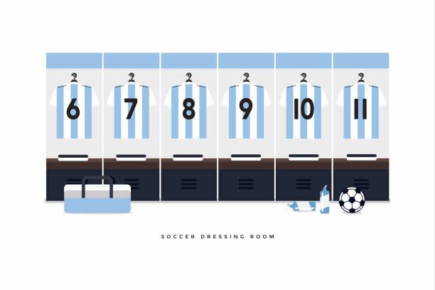 Argentina fútbol o fútbol equipo vestidor. - ilustración de arte vectorial