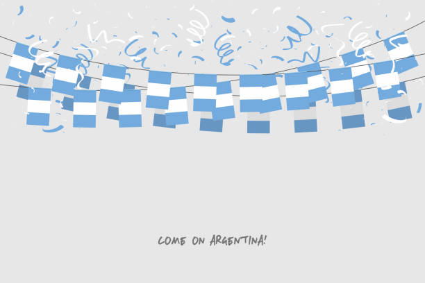 Bandera de Argentina garland con confeti sobre fondo gris, colgar banderines para banner de plantilla de celebración de Argentina. - ilustración de arte vectorial