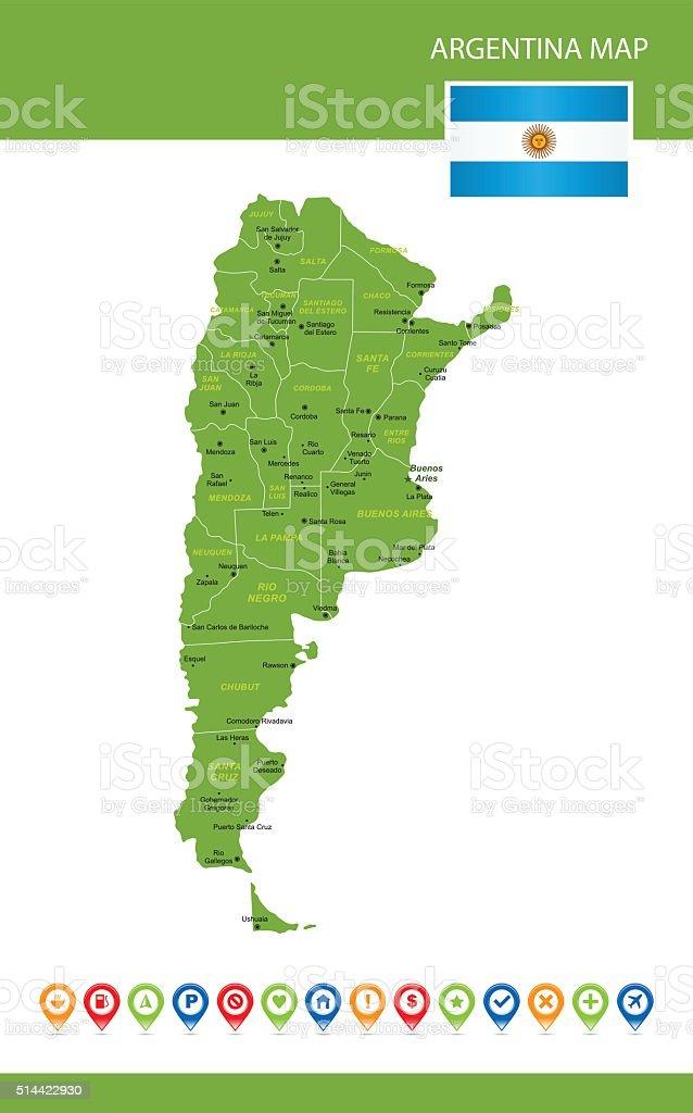 Argentina Green Map vector art illustration