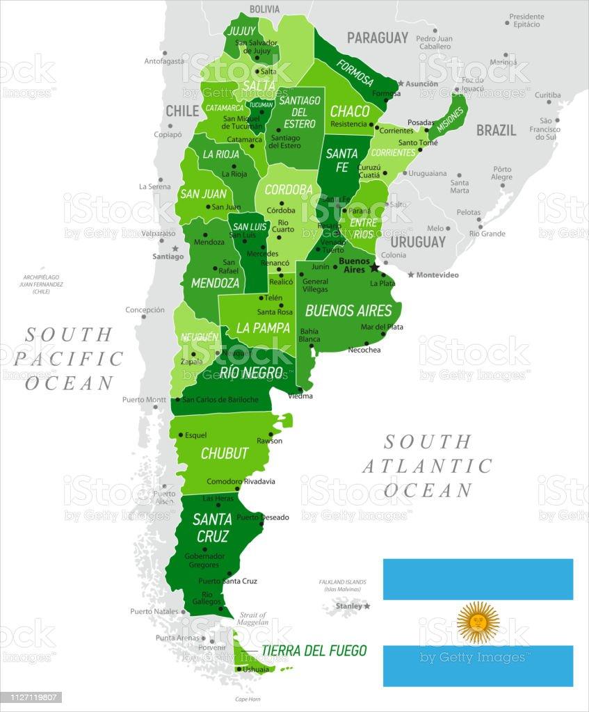 Argentina vector map with Mendoza, Buenos Aires, La Pampa and Cordoba...