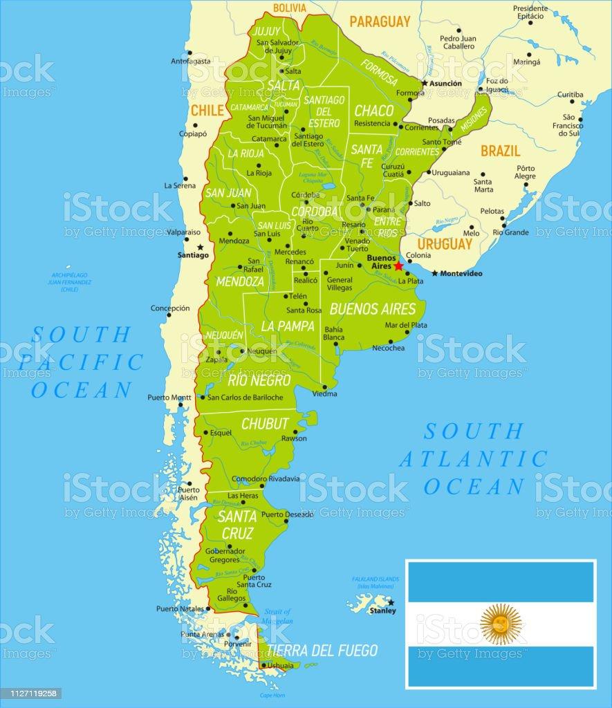 Mapa De Argentina Provincias.Ilustracion De Argentina Mapa Verde Con Bandera Nacional