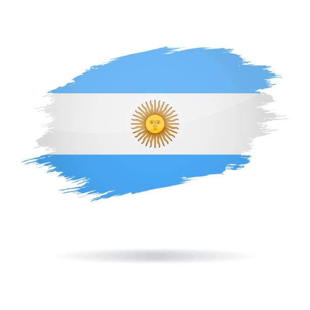 argentina - grunge flag vector glossy icon - argentina flag stock illustrations, clip art, cartoons, & icons