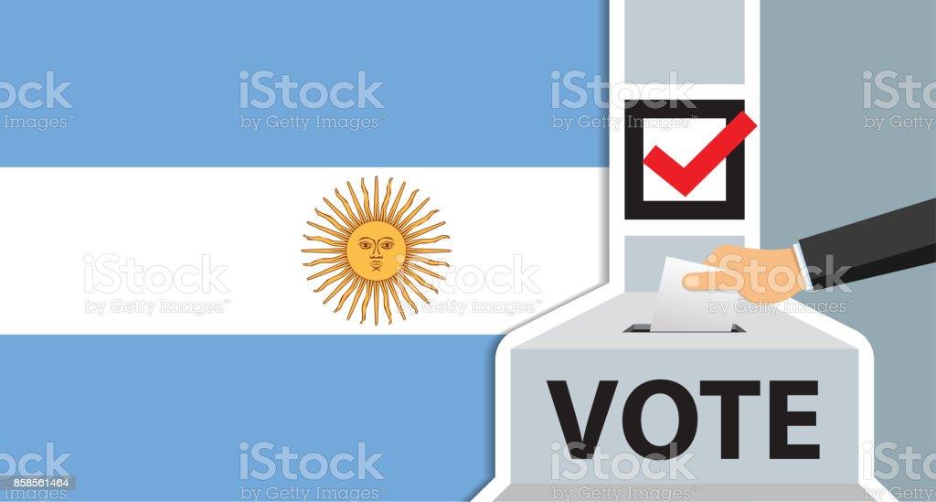 Mano Argentina poner papel en la urna - ilustración de arte vectorial