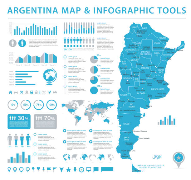 Argentina Info Graphic Map - Vector Illustration vector art illustration